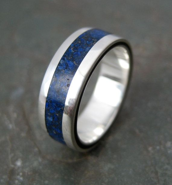 Lados Lapiz Azul  wood and stone ring with by natural ezanica, $239.00