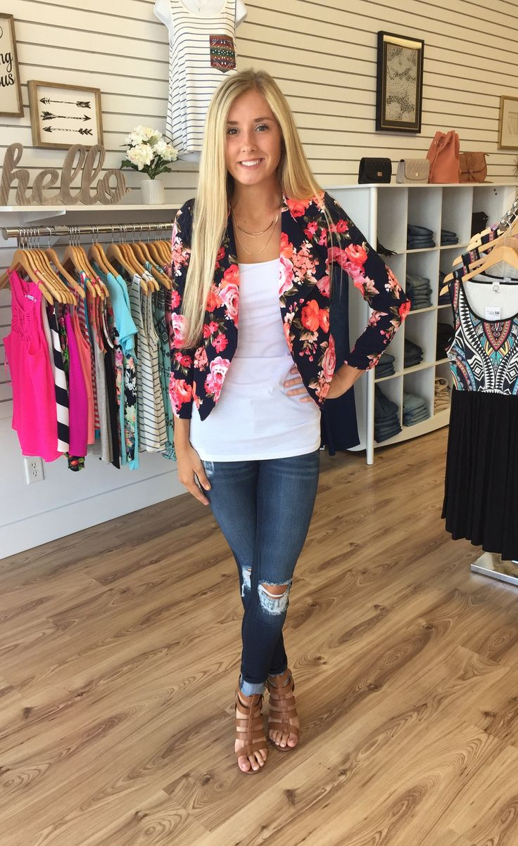 Jessa Floral Print Blazer-Navy - The Style Bar Boutique  - 1