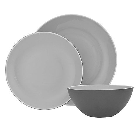 Buy John Lewis Puritan Tableware Set, 12 Piece, Grey Online at johnlewis.com