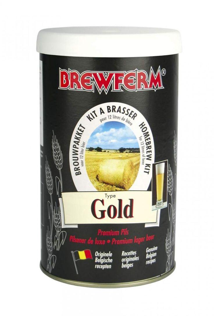 Brewferm - Gold Bira Kiti   Gold birası Pilsner bira tarifleri arasında lüks Pilsner olarak anılır. Orta gövdeli ve orta şerbetçiotu acılığındadır.   Gold bira kirinin başlangıç yoğunluğu (OG ) 1053'tür ve Pilsner tariflerine göre daha yüksek olan bu özgül ağırlıkla mayalama sonrasında bu kit % 5,5 alkol oranlı 12 litre bira hazır edecektir. #beer #brewferm #bira #Gold