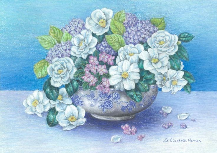 FINEARTSEEN - View White Camellias by Zoe Elizabeth Norman. An original painting available on FineArtSeen - The Home Of Original Art. Enjoy Free Delivery with every order. << Pin For Later >>