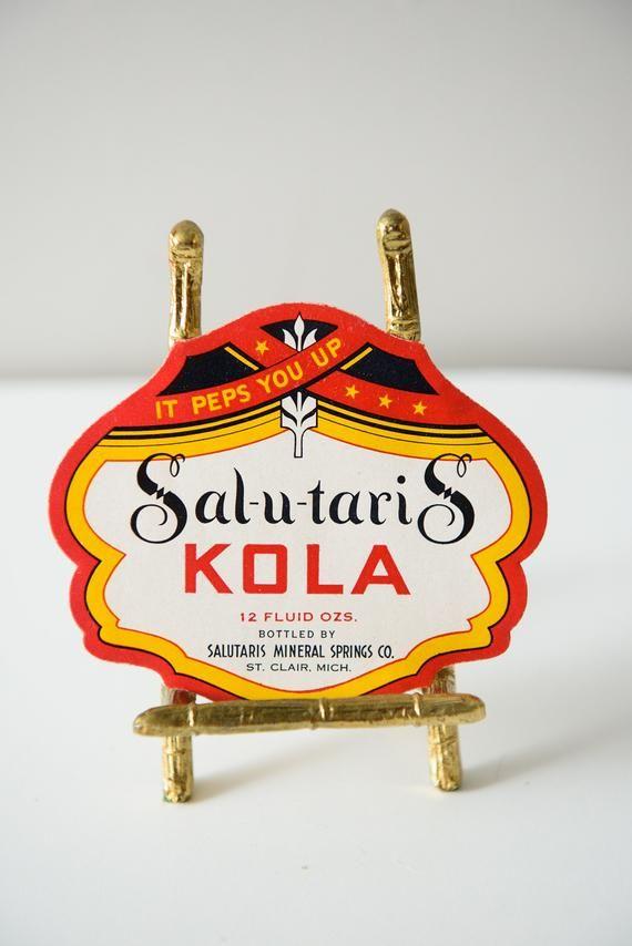 Vintage Unused Sal U Taris Kola Soda Bottle Label St Clair Michigan Soda Bottles Bottle Labels Clair