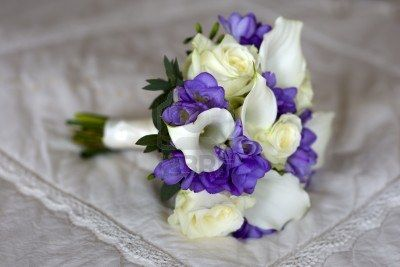 Wedding Bouquet Of Freesia, Lilies And Roses In White And Purple.   Yup these are the flowers I want!!!