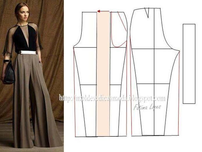 Modelagem de calça pantalona com pregas. Fonte: https://www.facebook.com/photo.php?fbid=716342331728041&set=a.262773027084976.75978.143734568988823&type=1&theater