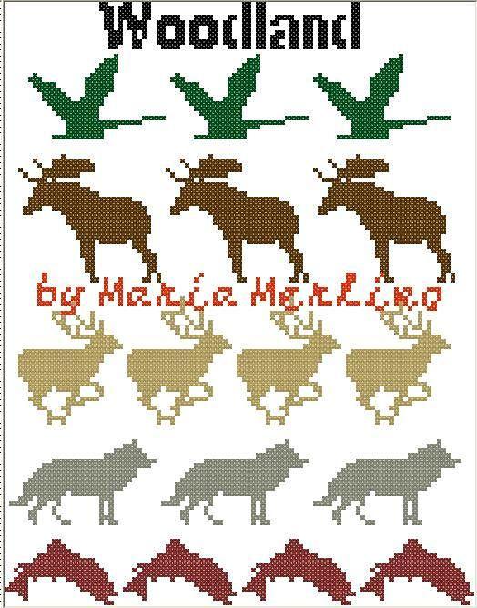 Ravelry: Goose Bird Moose Deer Wolf Fish Woodland Animals Crochet Tapestry Knitting Tunisian MoEZ, Intarsia Woodland Animals Chart Graph pattern by Maria Merlino