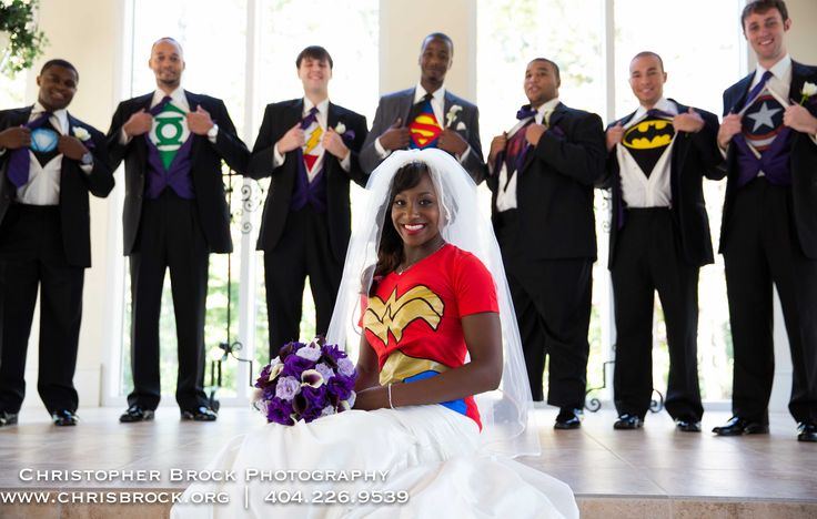 Fun wedding poses - Super Hero outfit!   www.chrisbrockfilms.com