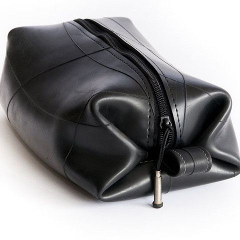 Recycled Inner Tube Toiletry Kit. Awesome.  $32.95