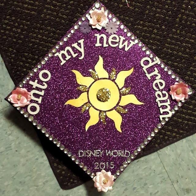 My Tangled inspired graduation cap. Onto my new dream - Disney World 2015 <3