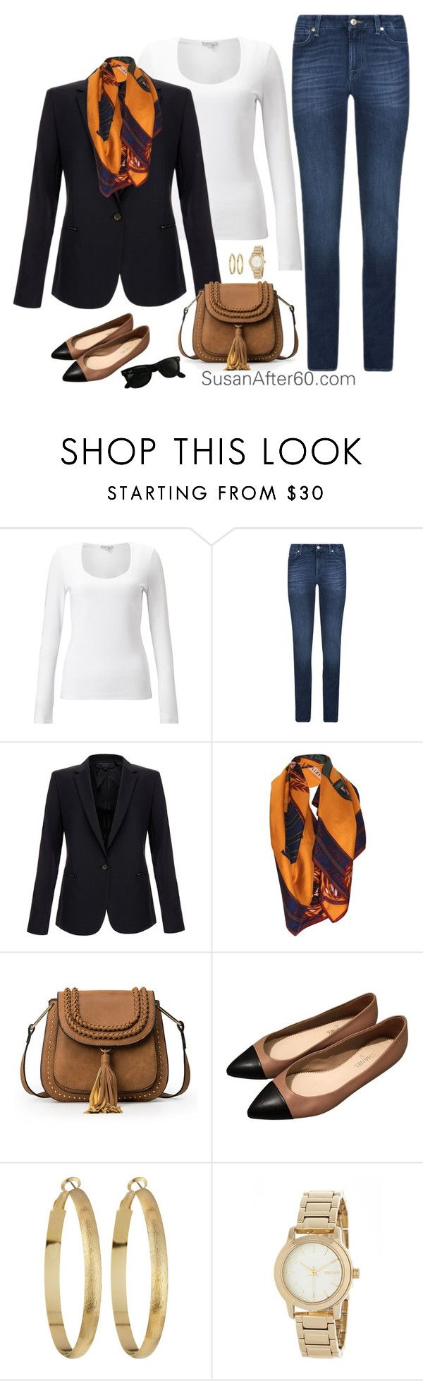 """Classics Forever"" by fiftynotfrumpy on Polyvore featuring Jigsaw, 7 For All Mankind, Equipment, DKNY, Chanel, Panacea and Ray-Ban"