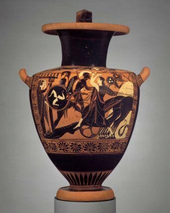 Achilles dragging the corpse of Hektor Attic black-figure hydria Leagros Group ca. 520-510 BC Boston, Museum of Fine Arts, 63.473