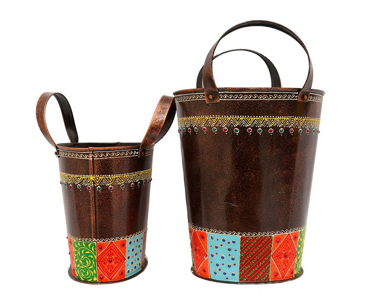 Set of 2 Decorative Buckets. Beautifully & intricately handpainted in catchy colours. Will add style yet give a contemporary look to your house.
