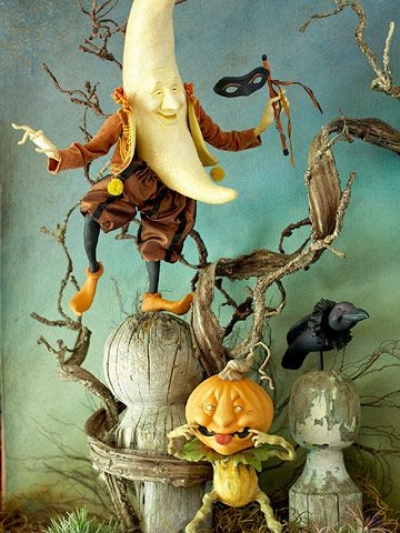 Moon Man and Pumpkin Man - Halloween, All Hallows Eve, Trick or Treat, Black Cat, Bat, Cauldron, Cobwebs, Candle, Goblin, Ghost, Ghouls, Grim Reaper, Grave Keeper, Raven, Skull, Spiders, Scarecrow, Skeleton, Vampire, Witch, Jack-O-Lantern, Pumpkin, Spooky, Spells, Scary, Haunted House, Haunting, Creepy, Frightening, Full Moon, Autumn, Fall, Magic Potion