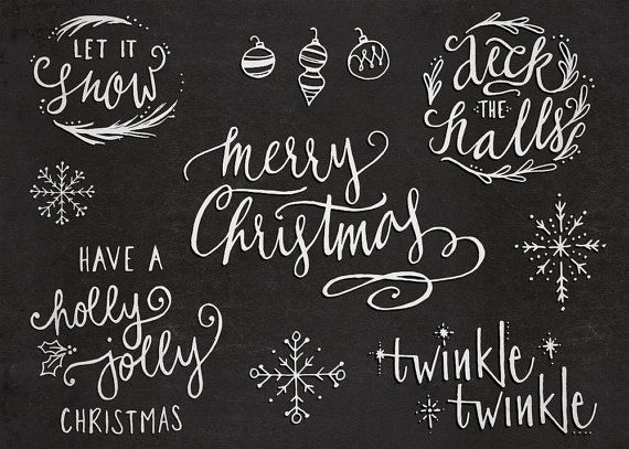 Hand-Lettered Christmas Holiday PNG Overlay Words and von niehenke