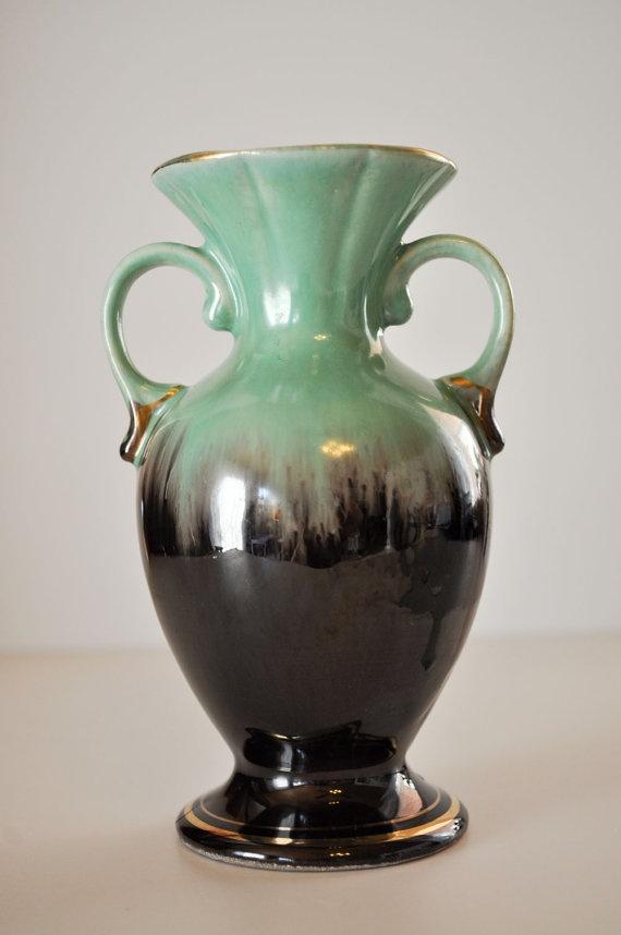 Vintage Mint Green And Brown Bud Vase Bay Keramik