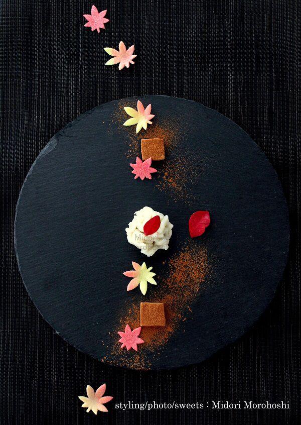 和菓子『風花 Kazahana~練切 Nerikiri』 Japanese sweets sculpted in seasonal designs around bean paste flavored with sesami. I expressed an image of the scenery of the season changing from autumn to winter. Please enjoy them with greentea, tea, coffee and whisky. *styling / photo / sweets : Midori Morohoshi(http://ameblo.jp/greenonthetable/imagelist.html)