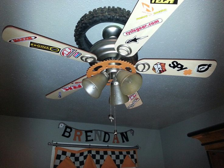 Tweaked regular old ceiling fan for the dirtbike fan-atic..sprayed light covers chrome, few shop parts & easiest...lots of decal's & stickers!