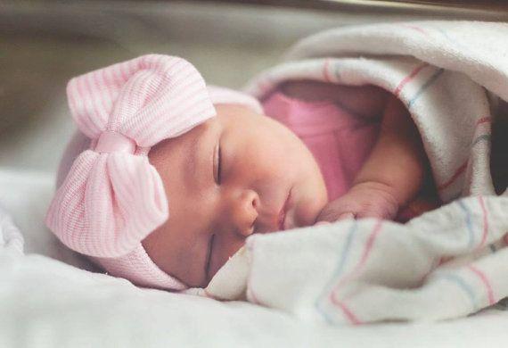 Newborn Hospital Hat Bow Baby Girl Hospital Hat by SkylarnMe