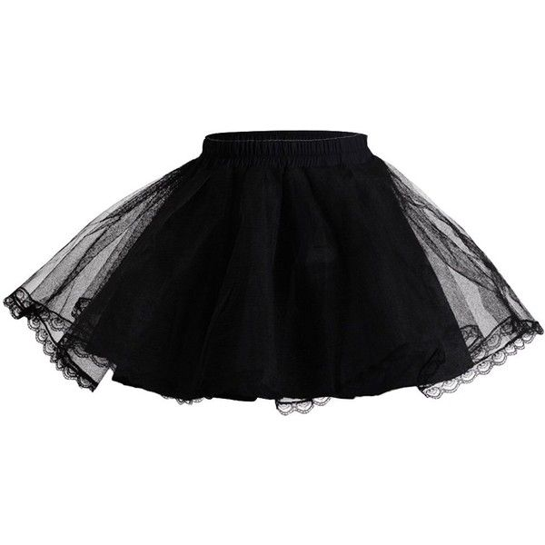 AvaLolita Three-Layer Short Crinoline Lolita Petticoat Underskirt Tutu... ($18) ❤ liked on Polyvore featuring skirts, mini skirts, black crinoline skirt, black tutu skirt, layered tutu, short mini skirts and petticoat tutu