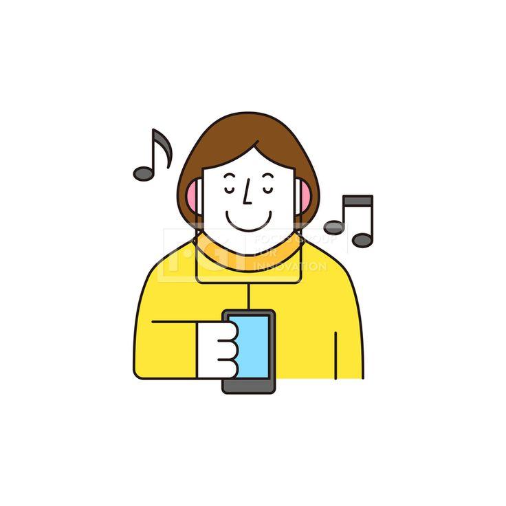ILL161, 프리진, 일러스트, 생활, 사람, ILL161, 캐릭터아이콘, 캐릭터, 인물, 손짓, 상반신, 손가락, 핸드모션, 동작, 청년, 여성, 여자, 취미, 일상, 음악, 감상, 음표, 헤드셋, 이어폰,#유토이미지
