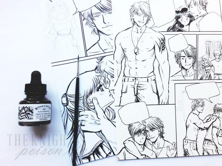 W.I.P. inchiostrazione tavole manga con pennello e inchiostro - Poison Lips manga. Inchiostrare tavole è una di quelle cose che cerco di rimandare fino all'ultimo, ma di solito quando inizio vado avanti finché non ho finito.