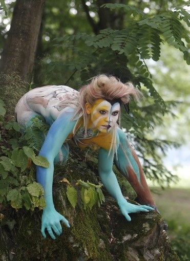 A model poses during the annual World Bodypainting Festival. ( Heinz-Peter Bader, Reuters / July 1, 2011 )