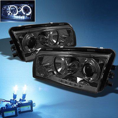 8000K Slim Xenon Hid+ Smoked 06-10 Dodge Charger Dual Halo Projector Headlights