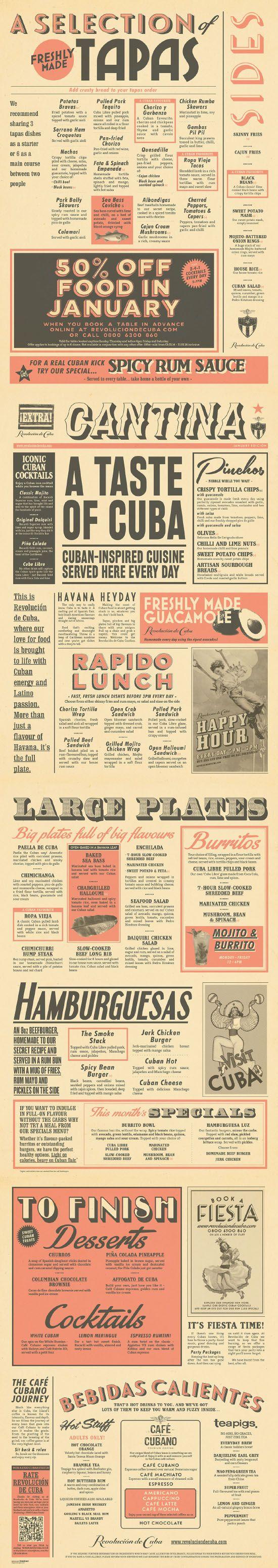 Cuban Cantina Food Menu Graphic Design for Revolucion de Cuba by www.diagramdesign.co.uk