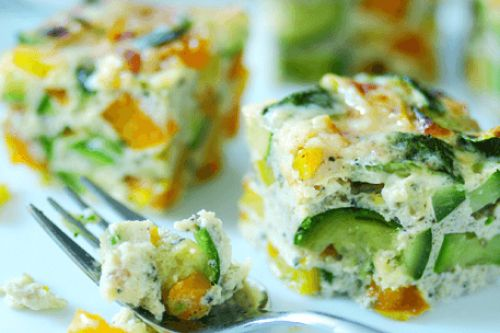 Microwave Pepper and courgette frittata