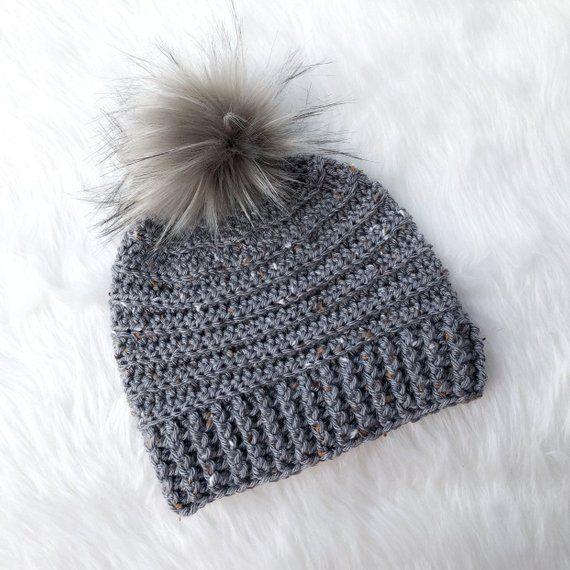 81f74e09c49 Gray Tweed Women s Crochet Fall   Winter Beanie Hat with Faux Fur Pom Pom