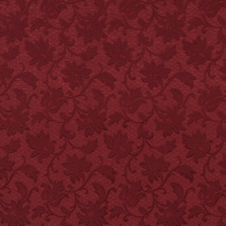 Wine Dark Red Burgundy Floral Swirl Brocade Upholstery
