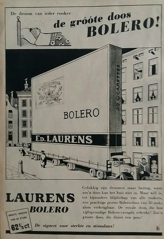 BOLERO sigaretten advertentie 1938