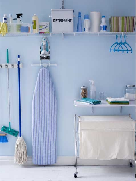 Stack it High   • Laundry room lacking storage space? Don't fret, look up. Utilizing the entire wall for vertical storage, allows you to maximize a small laundry space. Inexpensive fixtures can be purchased at a home improvement store.