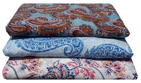 1 Yard Bundle of Cotton Printed fabric , Soft Cotton , Block Print - 3 Fabrics