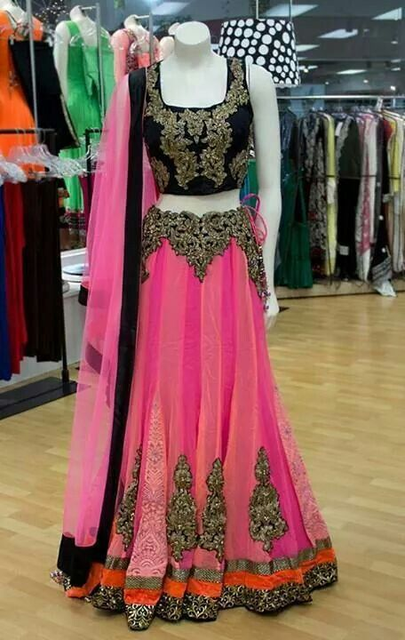 Neon pink and black lehenga