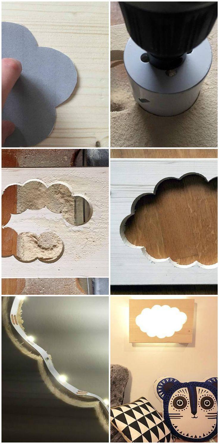 Fabriquer une lampe nuage veilleuse pour enfant avec une perceuse et une scie cloche, une petite planche de bois et un ruban LED, DIY deco turoriel.