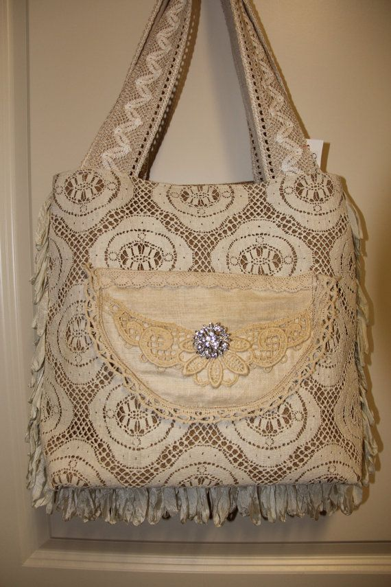 SALE Large shabby chic burlap purse by lyndasdesigns1 on Etsy, $110.00
