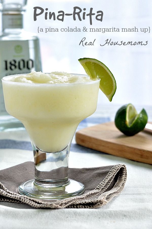 Pina-Rita | Real Housemoms 1 cup cream of coconut 1 cup coconut tequila ½ cup pineapple tidbits ½ cup pineapple juice, plus more if needed juice of half a lime, 3-4 cups of ice additional lime wedges for garnish, optional