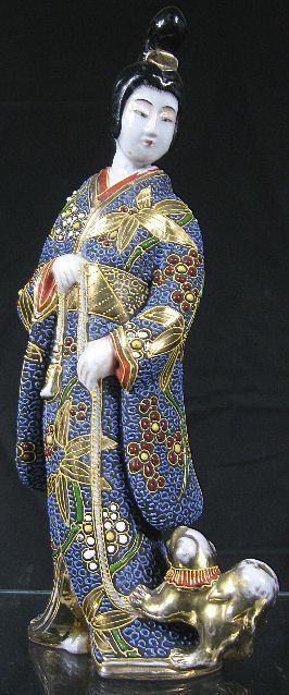 19th C Large Japanese Chinese Kimono Geisha Lady Dog Porcelain Figurine | eBay