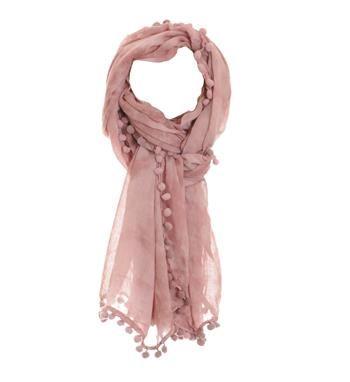 Zo Tassen gevlekt sjaaltje met een bolletjes rand rondom - Licht roze - NummerZestien.eu