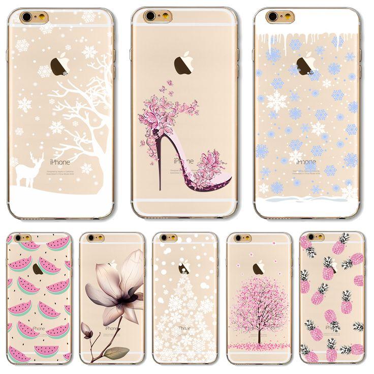 Cubierta de tpu para apple iphone 5 5s se 6 6 s 6 más 6 s + 7 7 Casos + Pintado Cáscara Del Teléfono Caliente del Copo de nieve Blanco Mundo Hermosos Diseños