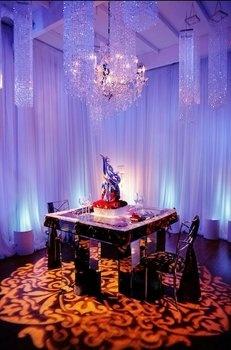 Wedding, Pin, Drapery, Chandeliers, Uplighting, Pattern, Projection, Enhanced lighting