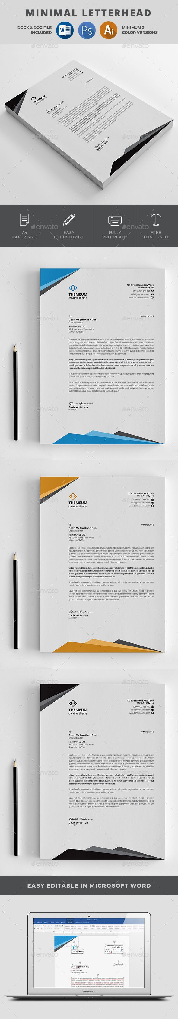 #Letterhead - #Stationery Print Templates Download here: https://graphicriver.net/item/letterhead/20292378?ref=alena994
