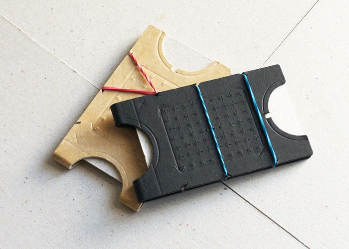 Dieter-01.  Cardboard Cardholder / Cardboard Card wallet. Cardboard + Rubber band. Exploration into low cost materials and high design. By @creativeBhav