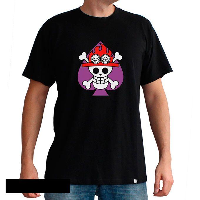 Camiseta One Piece, emblema As, puño de fuego  Camiseta de One Piece con el emblema de As, Puño de fuego, hermanastro de Luffy y postyeriormente se unirá a la tripñulación del pirata Barbablanca