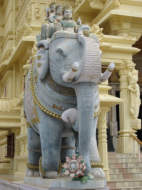 Welcome statue of Elephant at one of the Palitana temples of Jainism in India