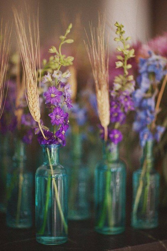 wheat lavender wedding centerpiece / http://www.deerpearlflowers.com/wheat-wedding-decor-ideas/
