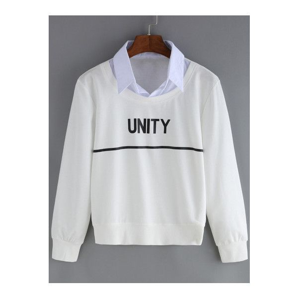 SheIn(sheinside) White Contrast Collar Letters Print Crop Sweatshirt (€12) ❤ liked on Polyvore featuring tops, hoodies, sweatshirts, white, cropped sweatshirt, white top, sweater pullover, crop top and long sleeve pullover