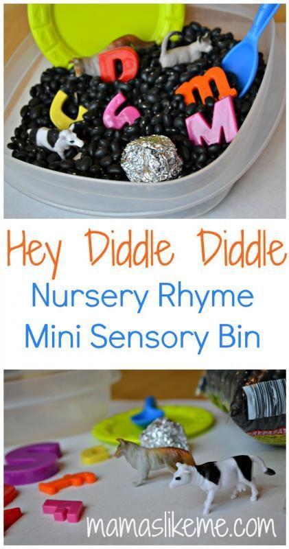 Hey Diddle Diddle Nursery Rhyme Sensory Fun! - Mamas Like Me #preschool #nurseryrhyme #sensorybin