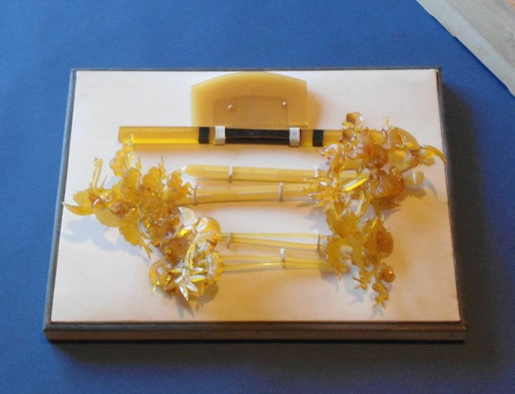 Yellow Celluloid Kanzashi And Kushi Traditional Wedding