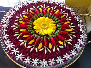 rangoli with flowers in water for diwali loved and pinned by http://omved.com/